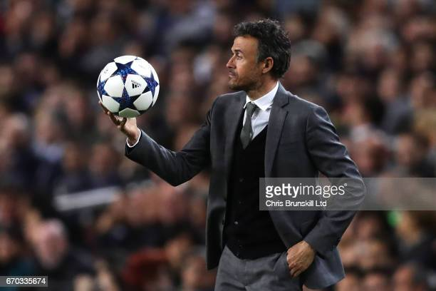 Barcelona Head Coach / Manager Luis Enrique holds the ball during the UEFA Champions League Quarter Final second leg match between FC Barcelona and...