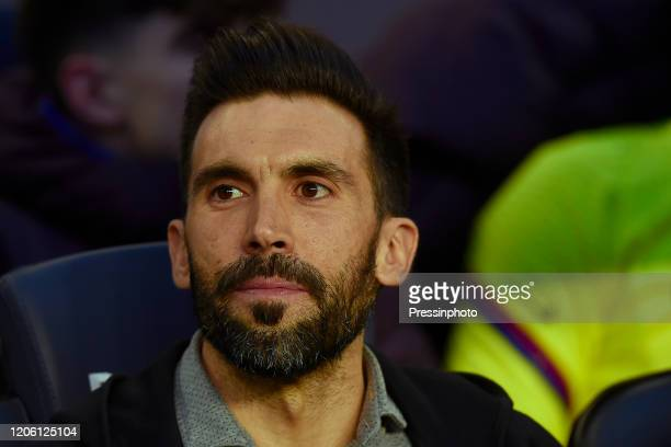 FC Barcelona head coach Quique Setien assitant Eder Sarabia on the bench during the La Liga match between FC Barcelona and Real Sociedad at Camp Nou...