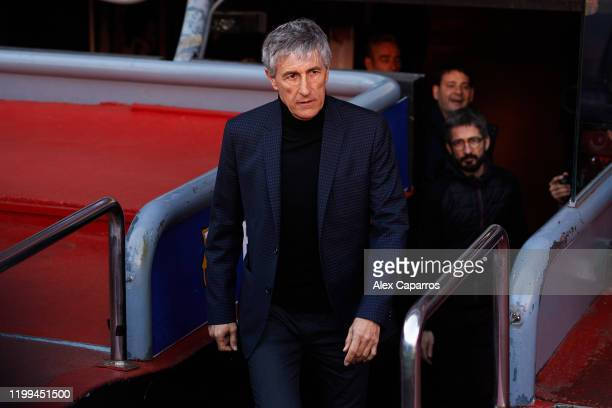Barcelona Head Coach Quique Setien enters the pitch before posing for the media as he is unveiled as new FC Barcelona Coach at Camp Nou on January 14...
