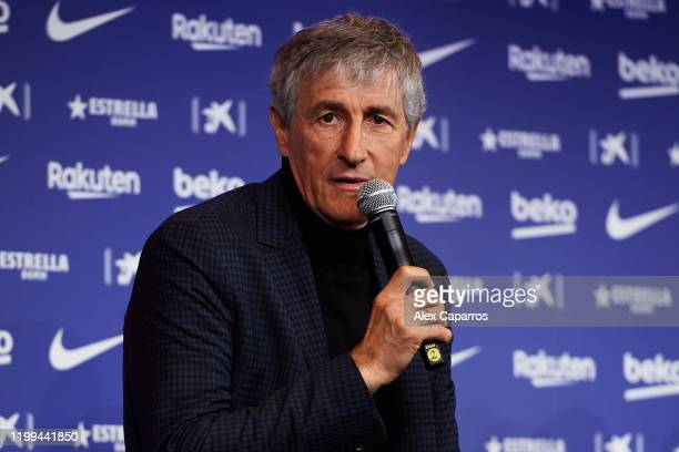 Barcelona Head Coach Quique Setien faces the media as he is unveiled as new FC Barcelona Coach at Camp Nou on January 14 2020 in Barcelona Spain