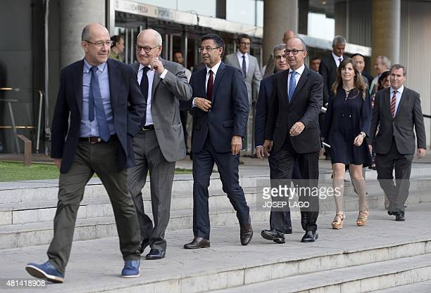 FC Barcelona incumbent president Josep Maria Bartomeu and Members of board of Directors arrive for a taking of office cerememony in Barcelona on July...