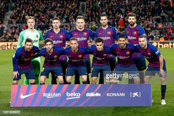 FC Barcelona initial team during the match FC Barcelona against Eibar for the round 19 of the Liga Santander played at Camp Nou on 13th January 2019...