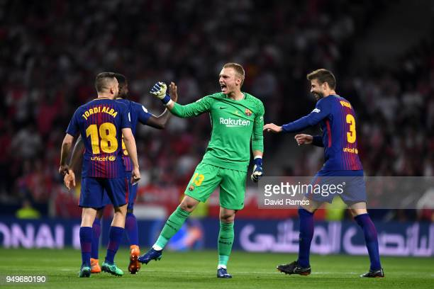 Barcelona keeper Marc Andre ter Stegen celebrates the teams first goal during the Spanish Copa del Rey Final between Barcelona and Sevilla at Wanda...
