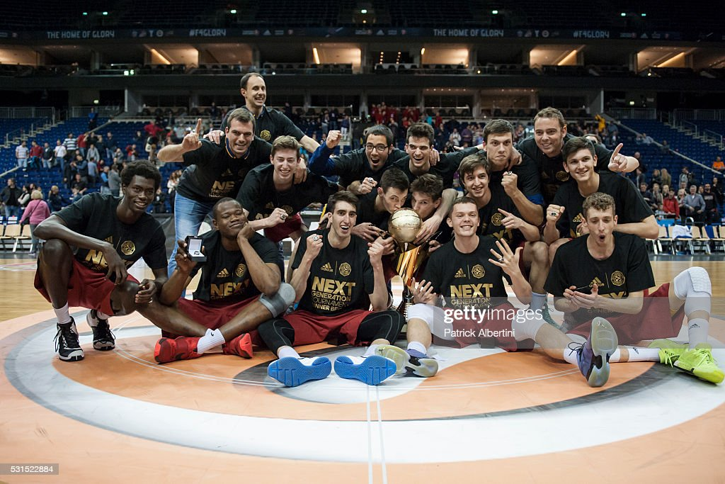 Barcelona Lassa celebrate during the Turkish Airlines Euroleague Basketball Adidas Next Generation Tournament Championship game between U18 FC Barcelona Lassa v U18 Crvena Zvezda Telekom Belgrade at Mercedes Benz Arena on May 15, 2016 in Berlin, Germany.