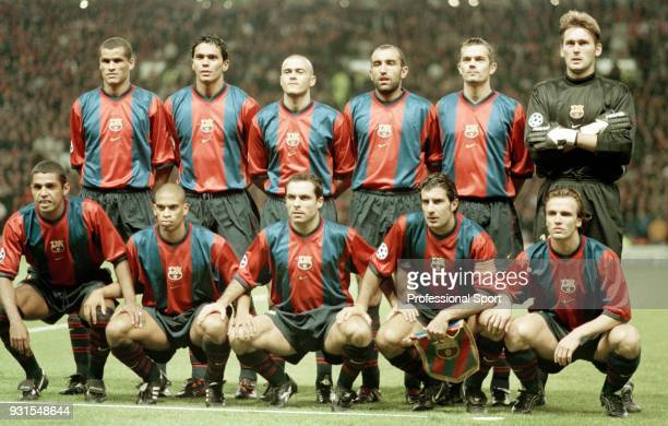 Barcelona line up for a group photo before the UEFA Champions League match between Manchester United and Barcelona at Old Trafford on September 16...