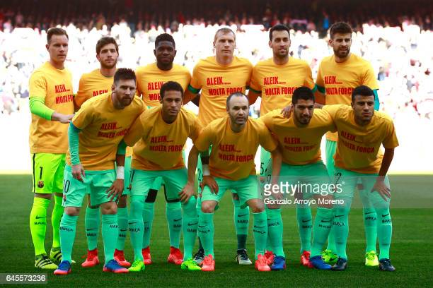 Barcelona line up prior to start the La Liga match between Club Atletico de Madrid and FC Barcelona at Vicente Calderon Stadium on February 26 2017...