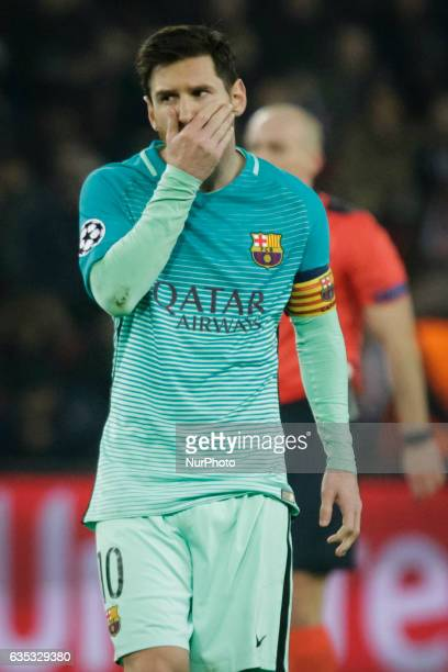 Barcelona Lionel Messi gestures during the UEFA Champions League round of 16 first leg football match between Paris SaintGermain and FC Barcelona on...