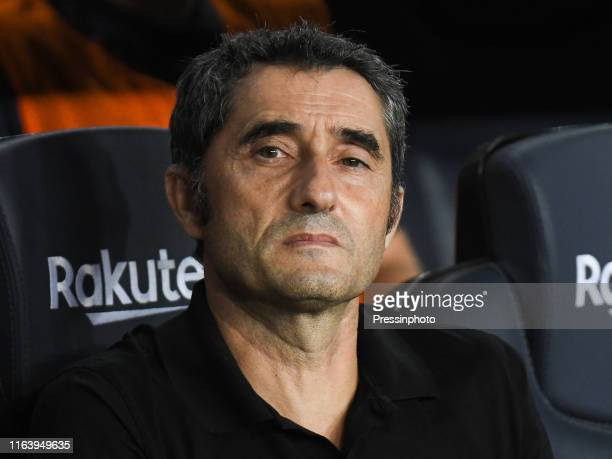 FC Barcelona manager Ernesto Valverde during the Liga match between FC Barcelona and Real Betis on August 25 2019 in Barcelona Spain