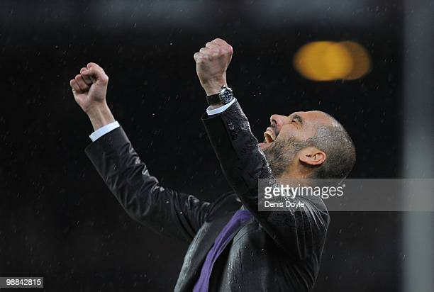 Barcelona manager Josep Guardiola celebrates after Pedro Rodriguez scored their third goal during the La Liga match between Barcelona and Tenerife at...