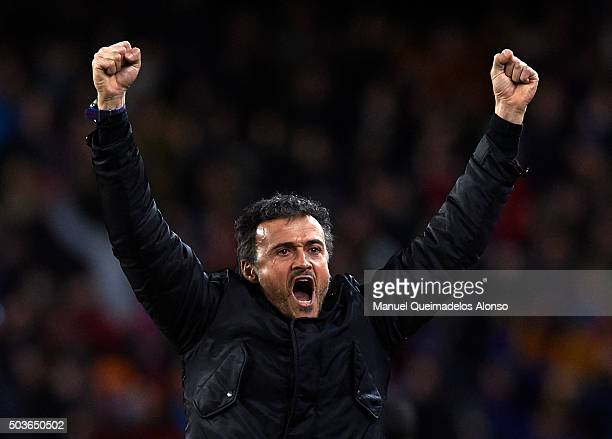 Barcelona manager Luis Enrique celebrates during the Copa del Rey Round of 16 match between FC Barcelona and Real CD Espanyol at Camp Nou on January...