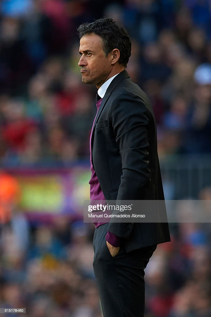 FC Barcelona manager Luis Enrique looks on during the La Liga match between FC Barcelona and Getafe CF at Camp Nou on March 12, 2016 in Barcelona, Spain.