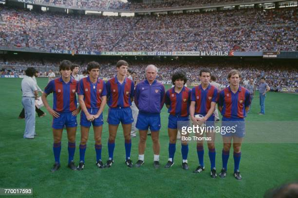 FC Barcelona manager Udo Lattek at a photocall with a group of newlysigned players at Camp Nou Barcelona Spain 28th July 1982 Among the newcomers is...