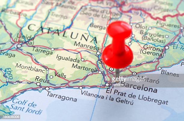 barcelona map - catalonia stock pictures, royalty-free photos & images