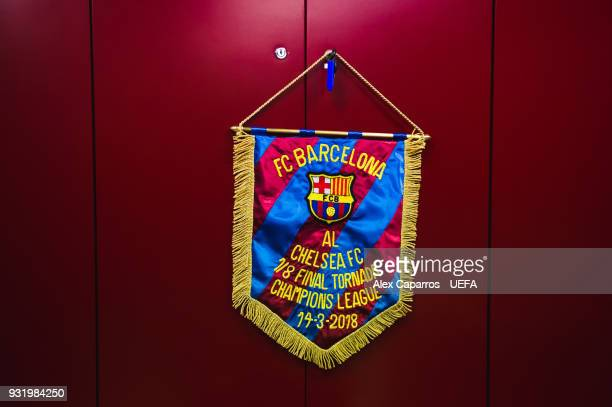 Barcelona match pennant hangs in the dressing room before the UEFA Champions League Round of 16 Second Leg match between FC Barcelona and Chelsea FC...