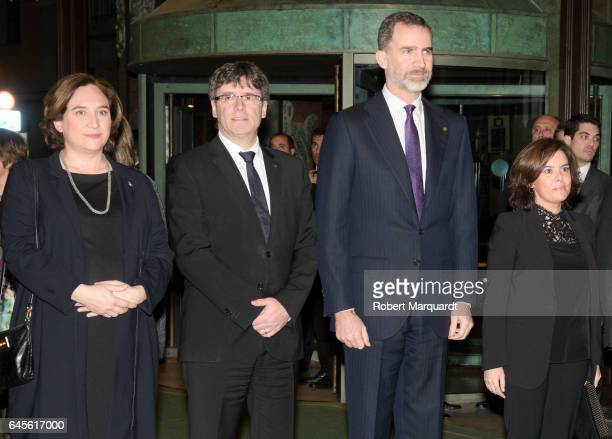 Barcelona mayor Ada Colau President of Catalunya Carles Puigdemont King Felipe of Spain and Deputy Prime Minister Soray Saenz de Santmaria attend the...