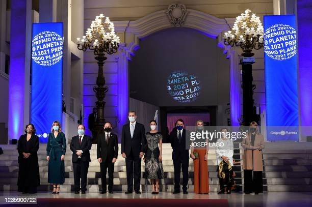 Barcelona Mayor Ada Colau, Spain's Minister of Education Pilar Alegria, Spain's Minister for Culture and Sports Miquel Iceta, Andorra's Head of...