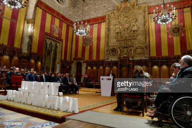Barcelona mayor Ada Colau speaks to Catalan proindependece mayors during a gathering under the slogan Freedom Justice and Democracy at the Barcelona...