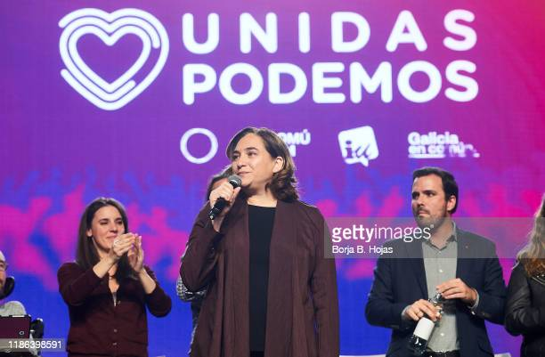 Barcelona Mayor Ada Colau talks onstage on November 08, 2019 in Madrid, Spain. Spain holds its fourth general election in four years on Sunday 10th...