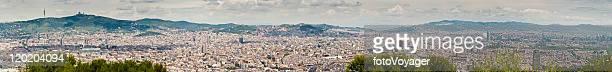 barcelona mega-panorama cityscape iconic landmarks catalonia spain - sagrat cor stock pictures, royalty-free photos & images