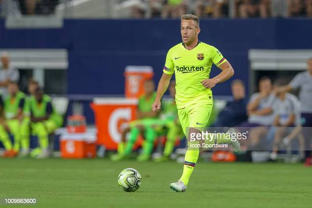 Barcelona midfielder Arthur Melo moves the ball during the International Champions Cup between FC Barcelona and AS Roma on July 31 2018 at ATT...