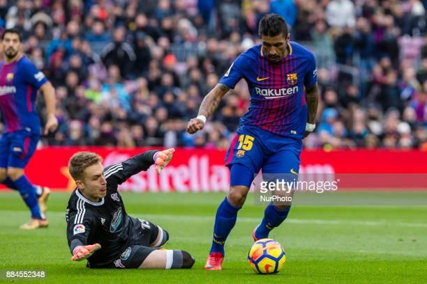 FC Barcelona midfielder Paulinho and Celta de Vigo goalkeeper Ruben Blanco during the match between FC Barcelona vs Celta de Vigo for the round 14 of...