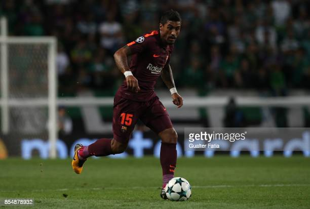 Barcelona midfielder Paulinho from Brasil in action during the UEFA Champions League match between Sporting Clube de Portugal and FC Barcelona at...