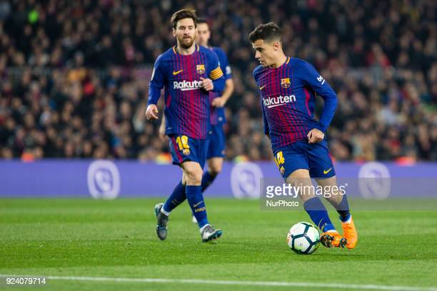FC Barcelona midfielder Philippe Coutinho and FC Barcelona forward Lionel Messi during the match between FC Barcelona vs Girona for the round 25 of...