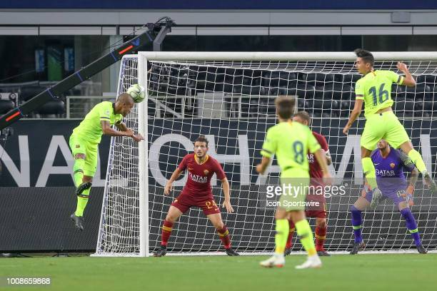 Barcelona midfielder Rafael Alcantara 'Rafinha' redirects a corner kick during the International Champions Cup between FC Barcelona and AS Roma on...