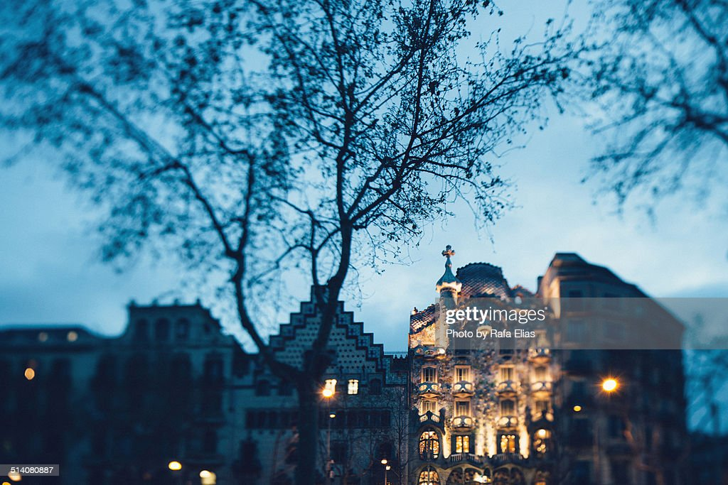 Barcelona modernist facades at night : Stock Photo