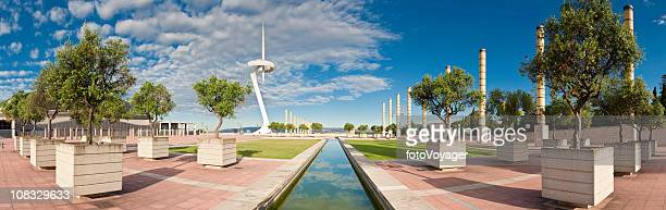 barcelona montjuïc hill communtication tower europa square panorama catalonia spain - montjuic stock pictures, royalty-free photos & images