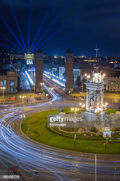 Barcelona Montjuic Magic Fountain lightshow Plaza de Espanya at night