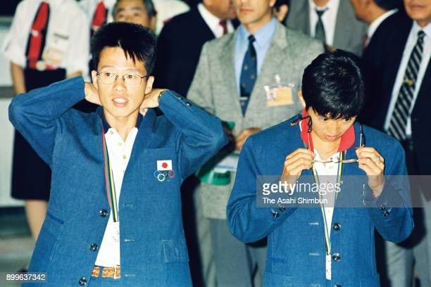 Barcelona Olympic Women's Marathon silver medalist Yuko Arimori and Men's Marathon silver medalist Koichi Morishita are seen on arrival at Narita...