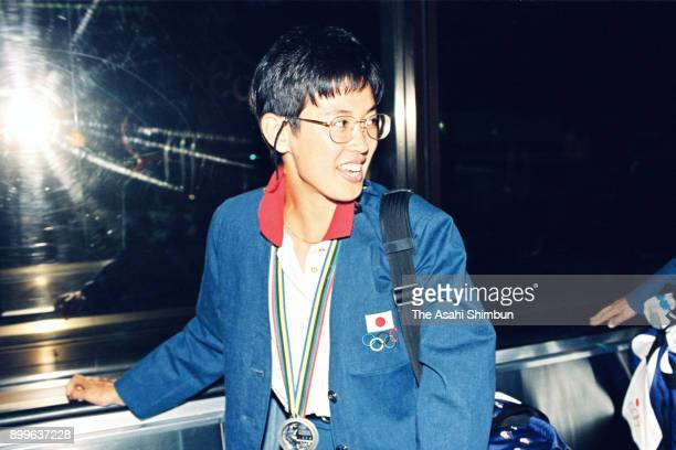 Barcelona Olympic Women's Marathon silver medalist Yuko Arimori is seen on arrival at Narita Airport on August 11 1992 in Narita Chiba Japan