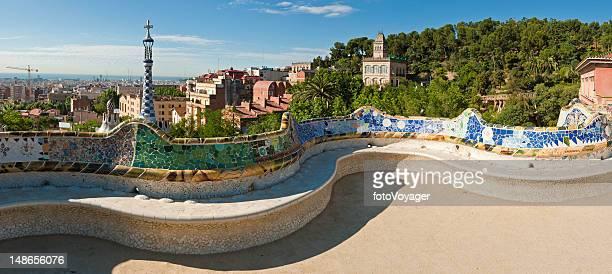 Barcelona Parc Güell Gaudí mosaic terrace Bank panorama Katalonien, Spanien