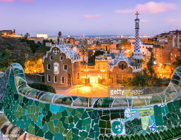 Barcelona, Parc Guell at sunset