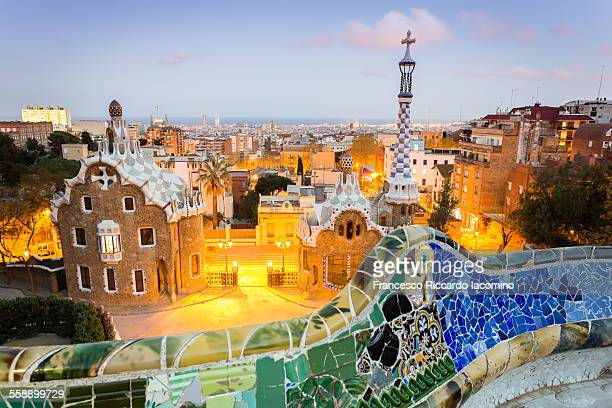 barcelona, park guell - barcelona spain stock photos and pictures