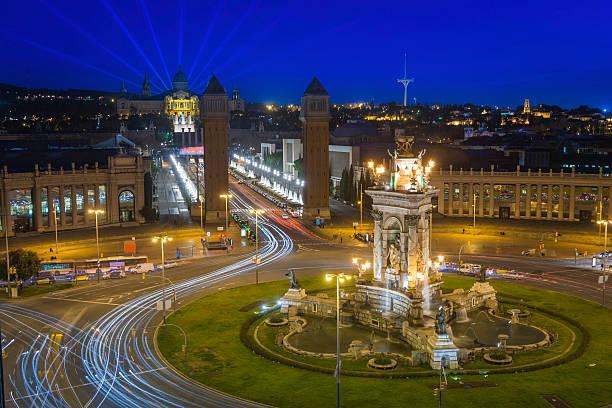 Barcelona Placa d'Espanya MNAC Magic Fountain light show Spain