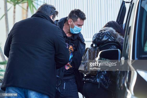 Barcelona player Leo Messi arrives to the private terminal at Barcelona airport after his holidays, in Barcelona, Spain, on December 30, 2020.