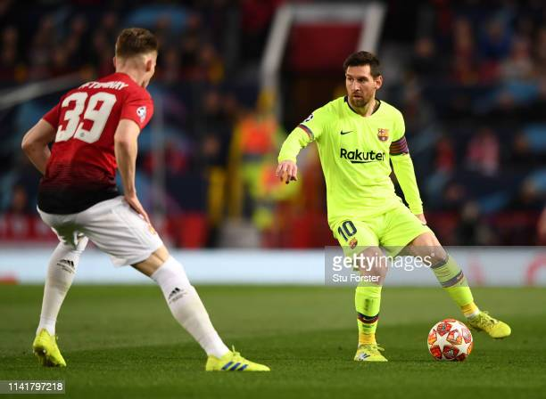 Barcelona player Lionel Messi in action during the UEFA Champions League Quarter Final first leg match between Manchester United and FC Barcelona at...
