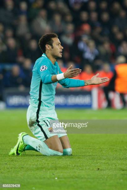 FC Barcelona player Neymar during the UEFA Champions League round of 16 first leg football match between Paris SaintGermain and FC Barcelona on...