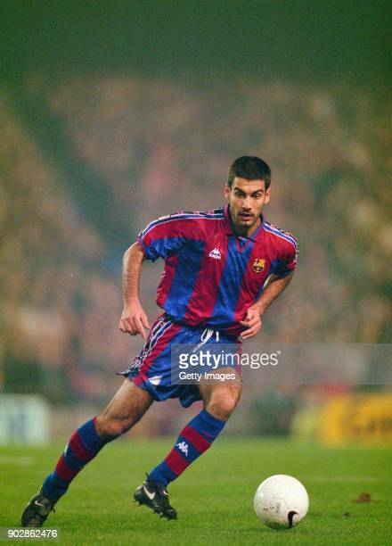 Barcelona player Pep Guardiola in action during a Spanish Cup match against Real Madrid at the Bernebau on January 30 1997 in Madrid Spain