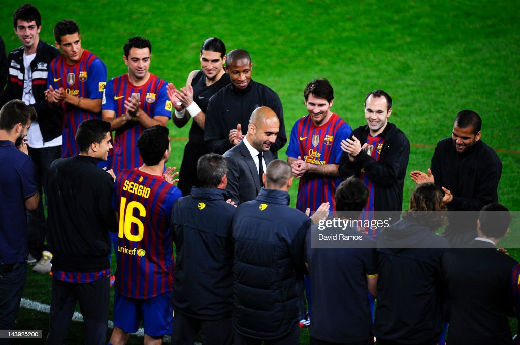 FC Barcelona players acknowledge their head coach, Josep Guardiola, at the end of the La Liga match between FC Barcelona and RCD Espanyol at Camp Nou on May 5, 2012 in Barcelona, Spain. This is Guardiola's last match.