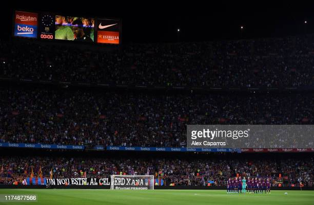 Barcelona players and fans remember Xana, the daughter of former head coach Luis Enrique prior to the Liga match between FC Barcelona and Valencia CF...