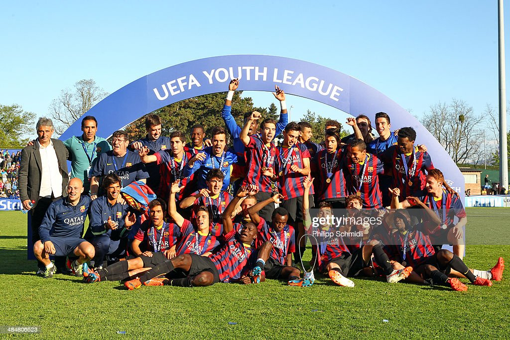 Fc Barcelona Players And Staff Celebrate With The Lennart Johansson Trophy After Winning The Uefa Youth