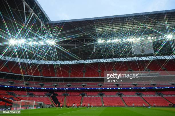 TOPSHOT Barcelona players attend a team training session at Wembley Stadium in north London on October 2 ahead of their Champions League group B...