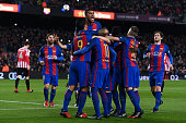 barcelona spain fc barcelona players celebrate