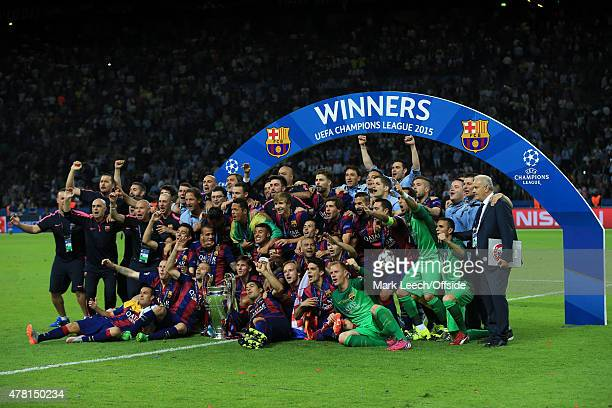 Barcelona players celebrate with the champions league trophy during the UEFA Champions League Final between Juventus and FC Barcelona at...