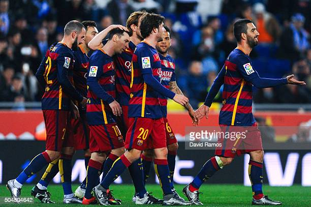 Barcelona players celebrates after Munir el Haddadhi of FC Barcelona scored the opening goal during the Copa del Rey Round of 16 second leg match...
