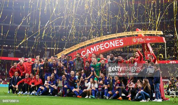 Barcelona players celebrates woth the trophy after winning the Spanish Copa del Rey Final match between Barcelona and Sevilla at Wanda Metropolitano...