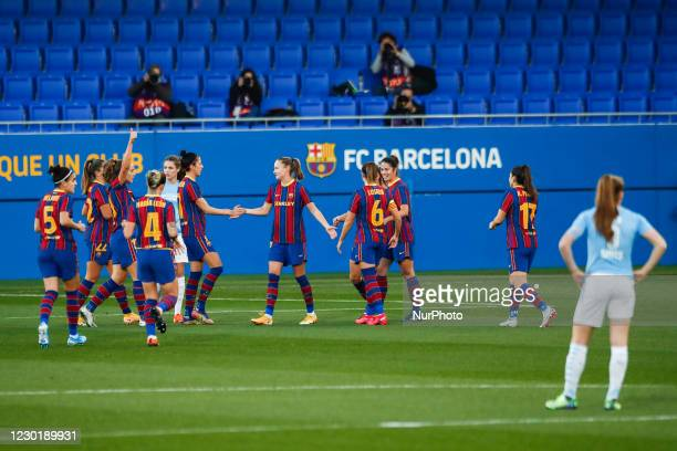 Barcelona players celebrating a goal during the UEFA Champions League Women match between PSV v FC Barcelona at the Johan Cruyff Stadium on December...